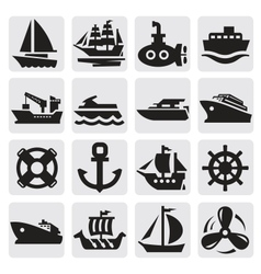 boat and ship icons set vector image vector image