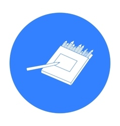 Colored pencils for drawing in box icon in black vector image