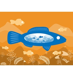Fish on background sea floor with an abstract vector image vector image