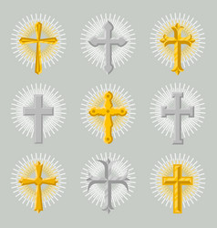 golden and silver church cross icon set vector image