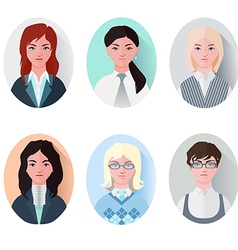 icon set business women in flat style vector image vector image