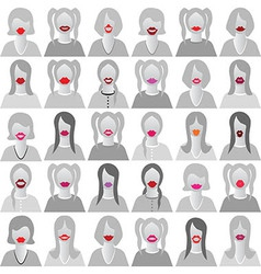 Lip smile set icons vector image vector image