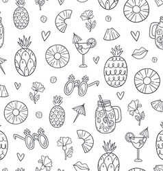 Pineapple mood doodle pattern vector image vector image