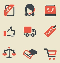Shopping black and red icon set vector image vector image