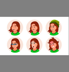 young girl avatar teen woman face vector image