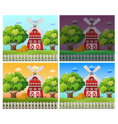 farm scenes at different time of day vector image vector image