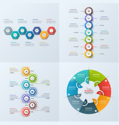 set of 4 infographic templates with 7 options vector image vector image