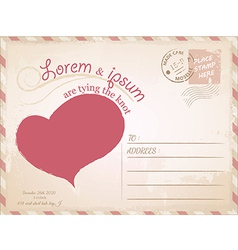Vintage postcard wedding invitation vector image