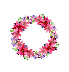 watercolor flower roses wreath vector image vector image