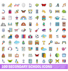 100 secondary school icons set cartoon style vector