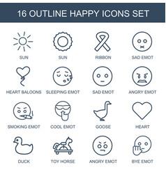 16 happy icons vector