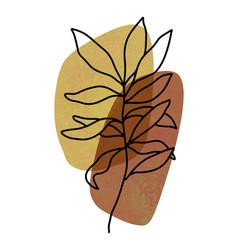 Abstract botanical wall art abstract leaves boho vector