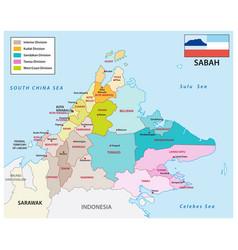 Administrative map sabah malaysia vector
