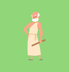 Ancient greek philosopher character in toga flat vector