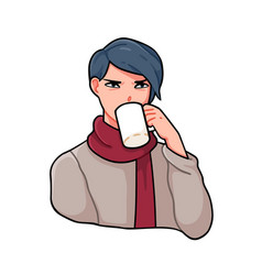 Angry anime boy with stylish haircut drinking tea vector