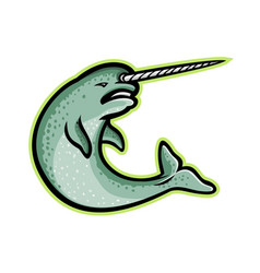 Angry narwhal mascot vector