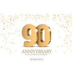 Anniversary 90 gold 3d numbers vector