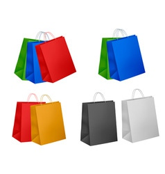 Assorted colored shopping bags vector