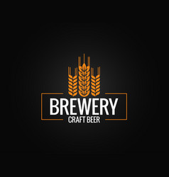 beer logo design brewery label on black vector image