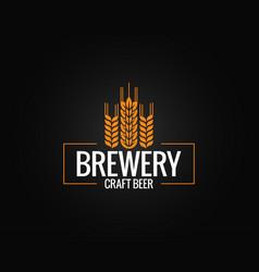 beer logo design brewery label on black vector image