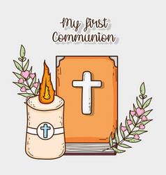 Bible with candle and cross to first communion vector
