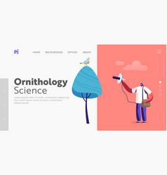 Birding professional ornithology landing page vector