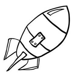 black and white rocket vector image