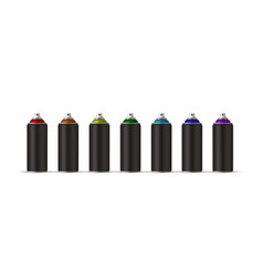 Black cans of spray paint in various colors vector