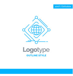 Blue logo design for complex global internet net vector