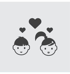 Boy and girl in love icon vector image