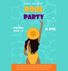 bright invitation template for pool party vector image