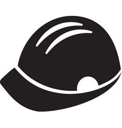 builder man hard hat black icon vector image