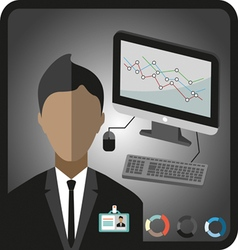 Business infographic with icons person computer ch vector