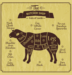 Butcher shop of lamb farm vintage vector