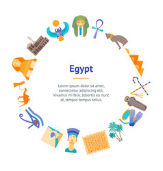 Cartoon symbol of egypt banner card circle vector