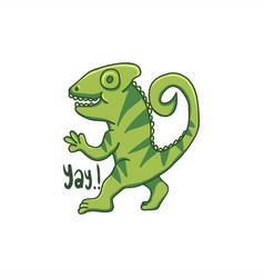 chameleon cartoon hand drawn vector image