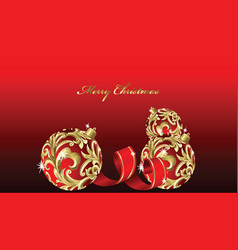 Christmas decoration on red background vector