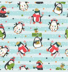 christmas seamless pattern with cute penguins vector image