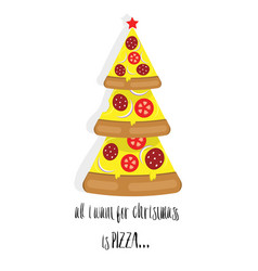 christmas tree pizza with text vector image