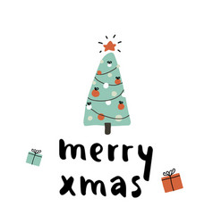 christmas tree with ornaments xmas card vector image