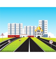 City in steppe vector