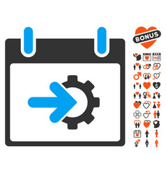 Cog integration calendar day icon with valentine vector