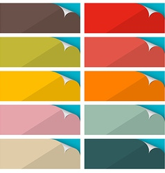 Colorful Empty Stickers Set with Bent Corner vector