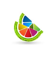 colorful lemon lime fruit icon vector image