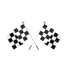 crossed chequered flags icon flat style vector image