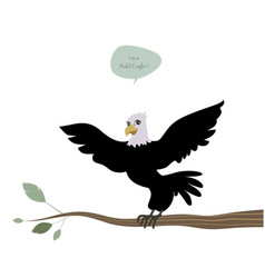Cute bald eagle with wings outstretched on a vector