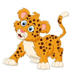 Cute cartoon leopard vector