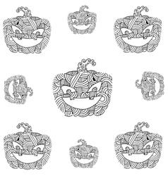 Doodle pumpkins ornament art vector image