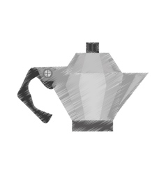 Drawing steel kettle coffee tea cookware vector