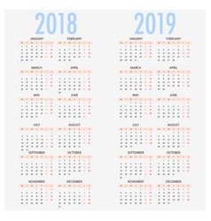 English calendar for years 2017 and 2018 week vector